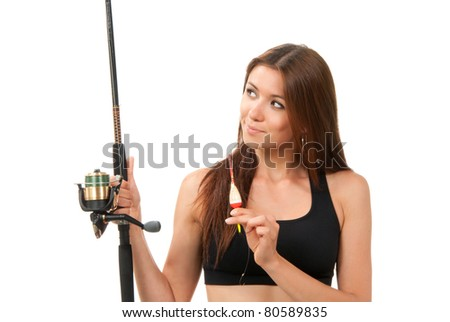 Woman Fishing pole rod with reel and a float in hands on a white background - stock photo