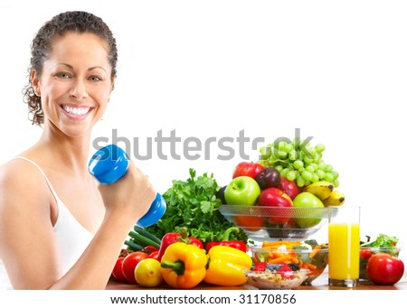 Woman, fitness, working out, exercise, health.  Isolated over white background - stock photo