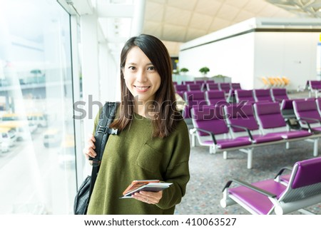 Woman fo travel in airport - stock photo