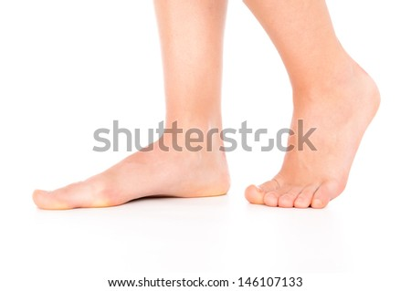 Woman foot isolated - stock photo