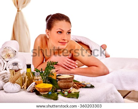 Woman getting spa treatment outdoor. - stock photo