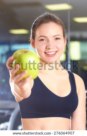 woman give apple - stock photo