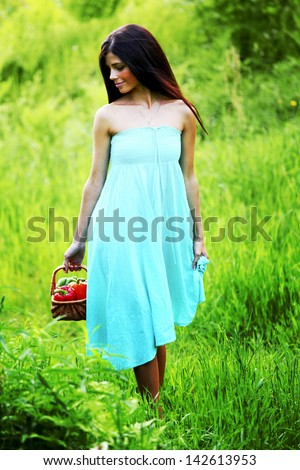 woman give paprica to you - stock photo