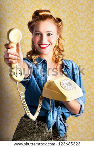 Woman Giving Good Telephone Service In A Depiction Of A Retro Pop Art Advertisement - stock photo