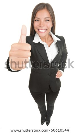 Woman giving thumbs up to the camera, that is above in high angle view. Wide angle, almost fish eye. Smiling mixed chinese asian / caucasian business woman. Isolated on white. - stock photo