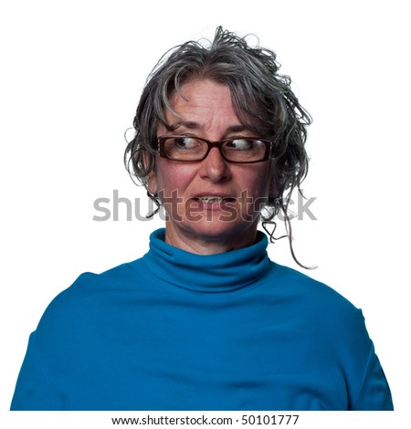 Woman glancing to her right, suspicious reaction - stock photo