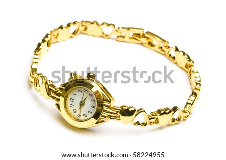 Woman gold wrist watch isolated on white background - stock photo