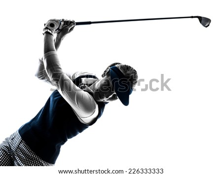woman golfer golfing silhouette in white background - stock photo