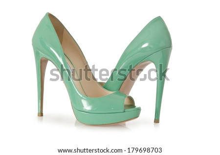 Woman green shoes isolated on white - stock photo