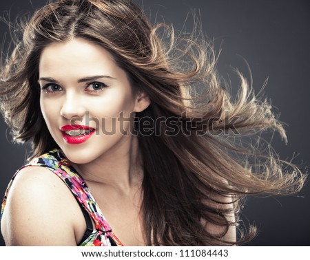 Woman hair style fashion portrait. isolated. close up female face. - stock photo