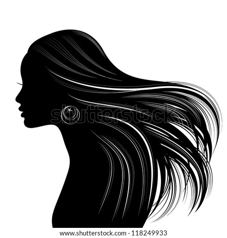 Woman Hair style Silhouette. Raster version - stock photo