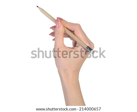 Woman hand and pencil write something - stock photo