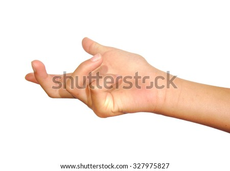 Woman hand beckoning or calling on a white isolated ...