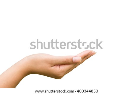 Woman hand. Close-up of beautiful woman's upturned hand Isolated on white background - stock photo