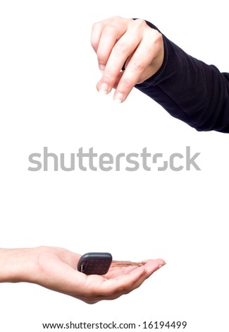 woman hand giving key - stock photo