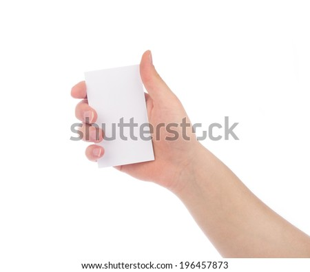 Woman hand hold business card, credit card or blank paper isolated on white background - stock photo