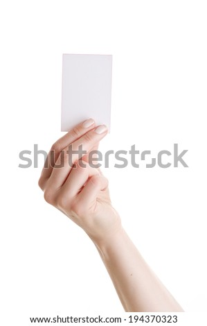 Woman Hand hold business card on white background  - stock photo