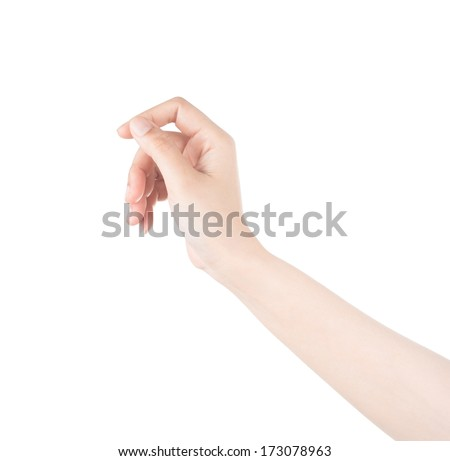 Woman hand hold virtual business card, credit card or blank isol - stock photo