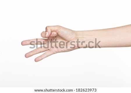 Woman hand hold virtual business card,  isolated on white background - stock photo
