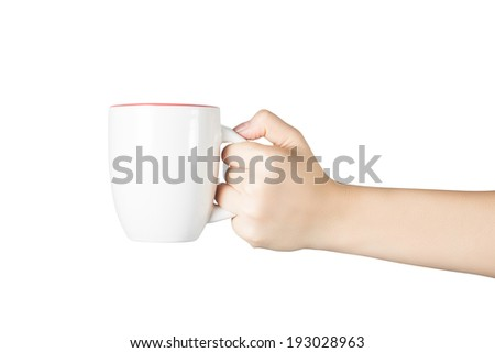Woman hand hold white cup isolated on white background. include clipping path. - stock photo