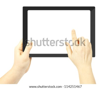 Woman hand holding a tablet pc  and finger touches the screen - stock photo