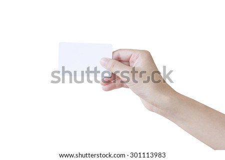 Woman hand holding a white card isolated on white background - stock photo