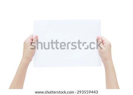 Woman hand holding a white paper isolated on white background - stock photo