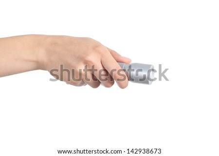 Woman hand holding an electrical torch isolated on a white background - stock photo
