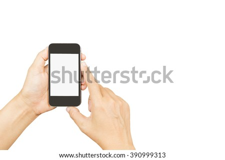 woman hand holding and using smart phone with isolated screen on white background,lifestyle and technology concept - stock photo