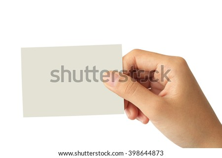 Woman hand holding blank paper business card isolated on white background - stock photo