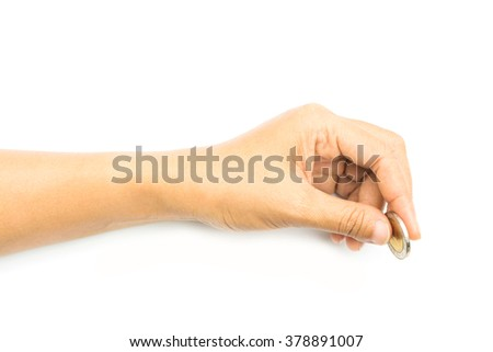 woman hand holding coin isolated on white background - stock photo