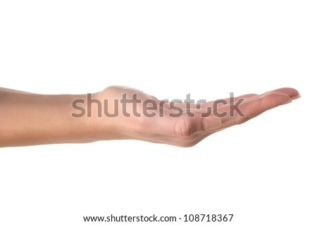 Woman hand holding isolated on white - stock photo