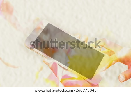 woman hand holding smart phone water color style on mulberry paper texture ,filter color  - stock photo