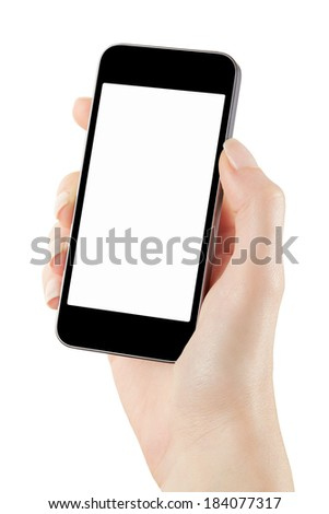 Woman hand holding smartphone with blank screen isolated on white, clipping path included - stock photo