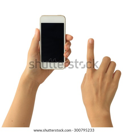 Woman hand holding Smartphone with blank screen on white background - stock photo