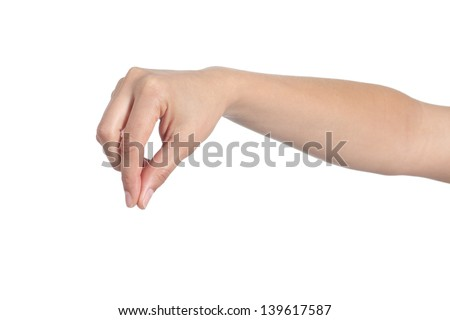 Woman hand holding something isolated on a white background - stock photo
