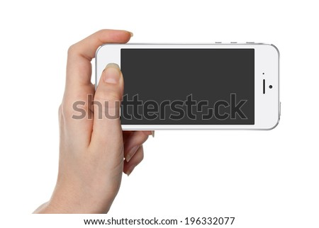 Woman hand holding white smart phone similar to iphon with isolated screen in hand, isolated - stock photo