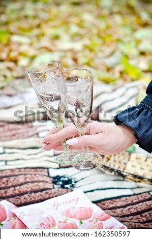 Woman hand holding wineglasses in the autumn park - stock photo