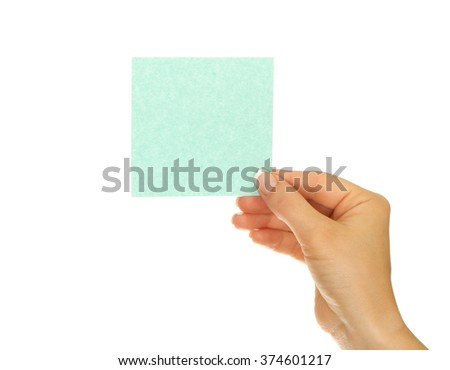 Woman hand holds virtual card or smart phone on white background - stock photo