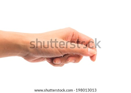 woman hand isolate on white - stock photo