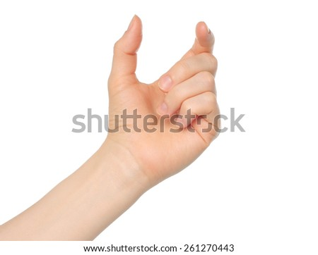 Woman hand like hold something on white background - stock photo