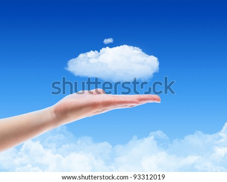 Woman hand offer the cloud against blue sky with clouds. Concept image on cloud computing and eco theme with copy space. - stock photo