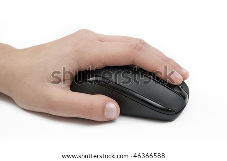 Woman hand on a mouse isolated on white - stock photo