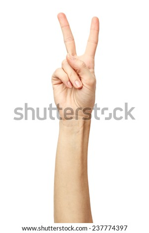 Woman hand on Isolated white background. Alpha. Victory. - stock photo
