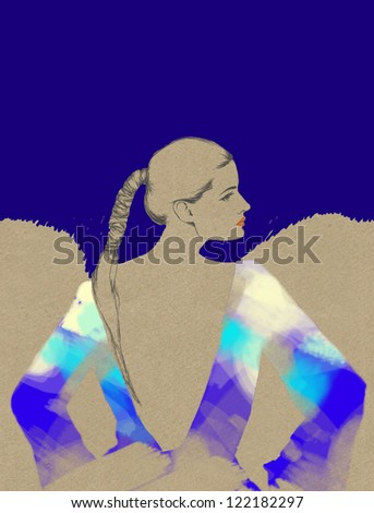 Woman . Hand painted fashion illustration - stock photo