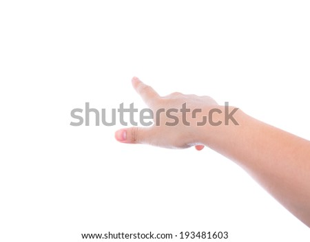 Woman hand (point up) isolated on white background - stock photo