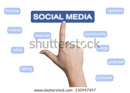 woman hand pointing to a social media button on white background - stock photo