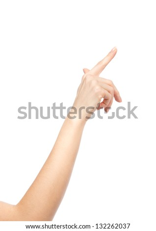 Woman hand pointing, touching or pressing isolated on white backgroung - stock photo