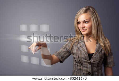 woman hand pressing digital buttons, futuristic technology - stock photo