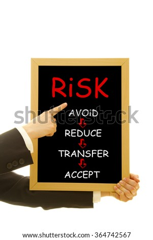 Woman hand showing risk management concept on a small blackboard on easel - stock photo
